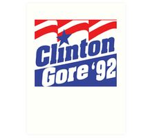 Clinton Gore '92 Liberal Democrat Presidential Logo 1992 Art Print