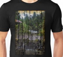 Rushing Cascade In The Andes - On Bark Unisex T-Shirt