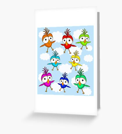 Cute colorful birds  Greeting Card