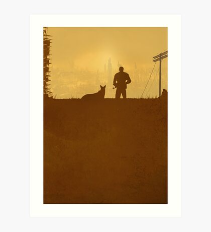 A Lone Man & his Dog - Minimal Silhouette Poster Design Art Print