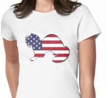 American Flag – Ferret Womens Fitted T-Shirt
