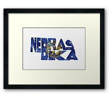 Nebraska Typographic Map Flag Framed Print