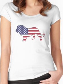 American Flag – Lion Women's Fitted Scoop T-Shirt