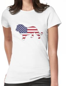 American Flag – Lion Womens Fitted T-Shirt