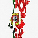Portugal Typographic Map Flag by A. TW