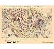 Booth's Map of London Poverty for Abbey Rd Ward, Westminster Photographic Print