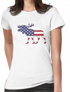 American Flag – Moose Womens Fitted T-Shirt