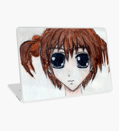 Anime girl with brown hair Laptop Skin