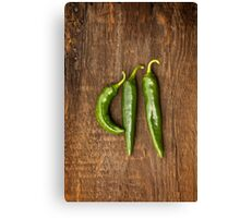 Anaheim Peppers on Barn Wood Canvas Print