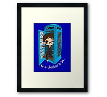 The Doctor Is In The Box Framed Print