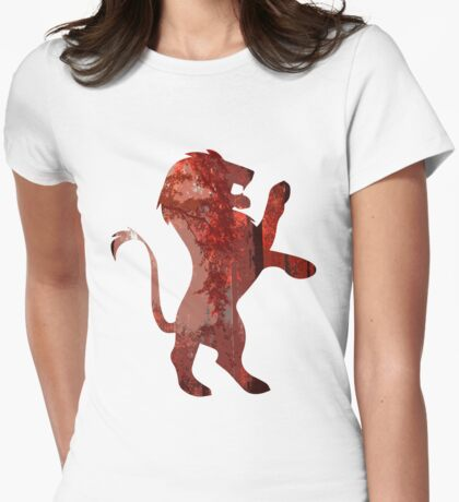 Lion red forest Womens Fitted T-Shirt