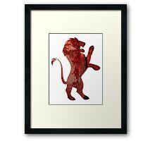 Lion red forest Framed Print