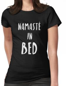"""Funny Yoga T-Shirt """"Namaste In Bed"""" Womens Fitted T-Shirt"""