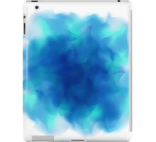 Blue Smoky Square Water Painted Cloud on White Background iPad Case/Skin