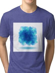Blue Smoky Square Water Painted Cloud on White Background Tri-blend T-Shirt