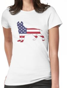 American Flag - Pit Bull Terrier Womens Fitted T-Shirt