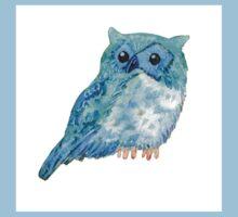 Sweet watercolor owl. Funny blue bird. Baby Tee