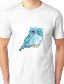 Sweet watercolor owl. Funny blue bird. Unisex T-Shirt