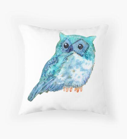 Sweet watercolor owl. Funny blue bird. Throw Pillow