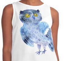 Sweet watercolor owl. Funny blue bird. Contrast Tank