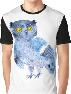 Sweet watercolor owl. Funny blue bird. Graphic T-Shirt