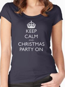 keep calm and christmas party on Women's Fitted Scoop T-Shirt