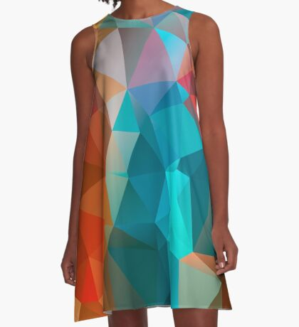 Abstract bright background of triangles polygon print illustration A-Line Dress