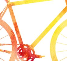 watercolour orange bicycle Sticker