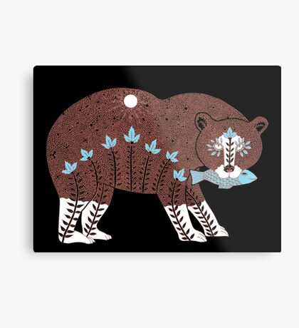 Folk Art Spirit Bear with Fish Metal Print