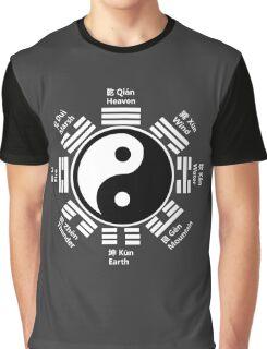 Yin Yang Tai Chi Symbol with Chinese Characters Graphic T-Shirt