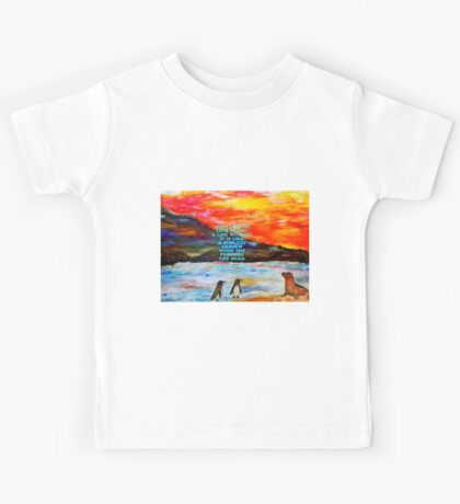 The Value Of Love Inspirational Quote With Penguins And Sea Lion Painting  Kids Tee