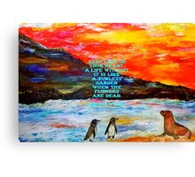 The Value Of Love Inspirational Quote With Penguins And Sea Lion Painting  Canvas Print