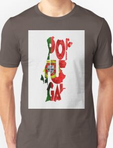Portugal Typographic Map Flag Unisex T-Shirt