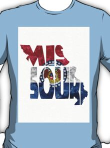 Missouri Typographic Map Flag T-Shirt