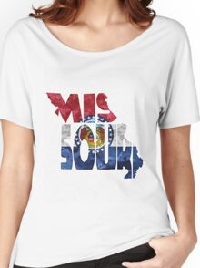 Missouri Typographic Map Flag Women's Relaxed Fit T-Shirt