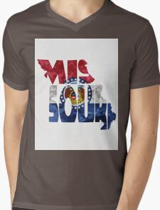 Missouri Typographic Map Flag Mens V-Neck T-Shirt
