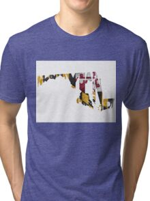 Maryland Typographic Map Flag Tri-blend T-Shirt