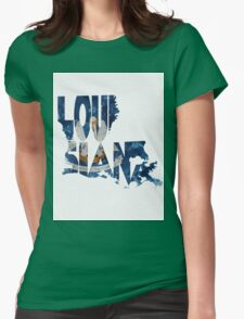 Louisiana Typographic Map Flag Womens Fitted T-Shirt