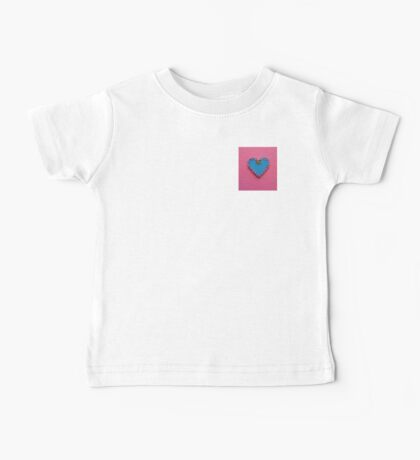 Blue Love Heart Decorated on Pink Background Baby Tee
