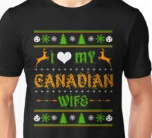 Love Canadian Wife T-Shirt, Husband Ugly Christmas Sweater Unisex T-Shirt
