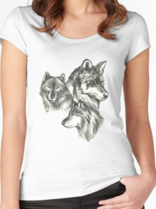 Three Wolf Sketches Women's Fitted Scoop T-Shirt