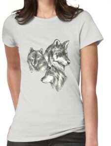 Three Wolf Sketches Womens Fitted T-Shirt