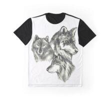 Three Wolf Sketches Graphic T-Shirt