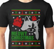 Funny Cat Lovers Gift, Meowy Ugly Christmas Sweater Tshirt Unisex T-Shirt