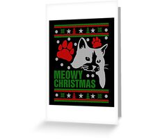 Funny Cat Lovers Gift, Meowy Ugly Christmas Sweater Tshirt Greeting Card
