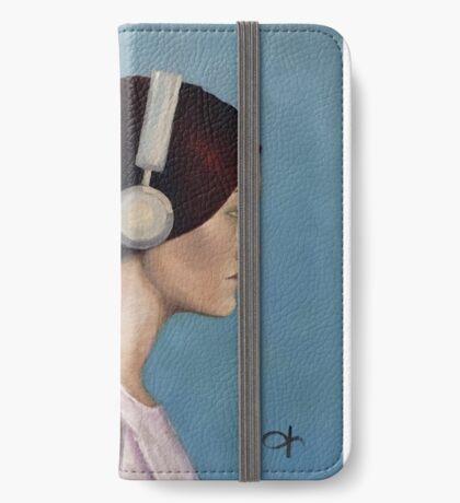 Girl in head phones iPhone Wallet