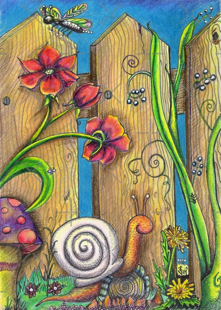Garden Fence Whimsical drawing by Vicki Noble
