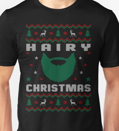 Hairy Beard Ugly Christmas Sweater, Funny Men Women T-Shirt Unisex T-Shirt