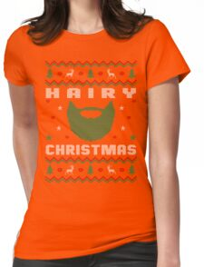 Hairy Beard Ugly Christmas Sweater, Funny Men Women T-Shirt Womens Fitted T-Shirt