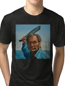 Robert Shaw in Jaws Painting Tri-blend T-Shirt